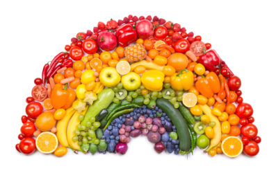 A rainbow made from a variety of fruit and vegetables